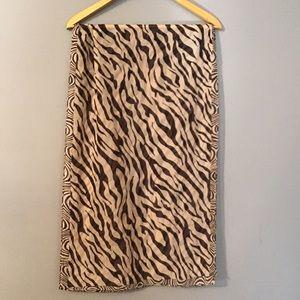 Vintage Brown Zebra Print Scarf